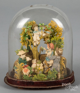 Victorian wax grouping, with glass dome