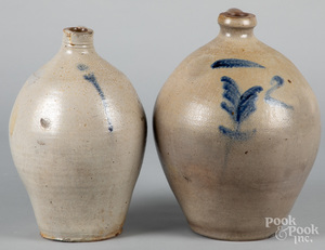Two New England stoneware ovoid jugs