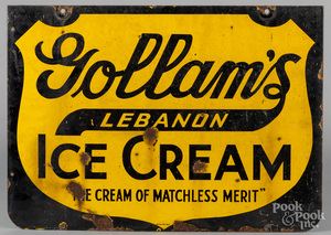 Enamel trade sign for Gollam's Ice Cream