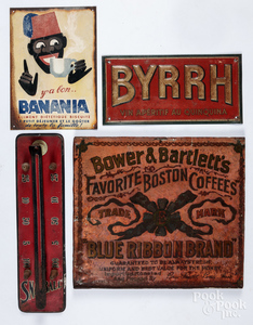 Three tin advertising signs, etc.