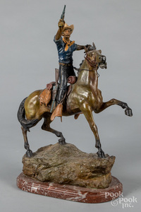 Bronze horse and rider, after Carl Kauba