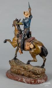 Bronze horse and rider, after Carl Kauba