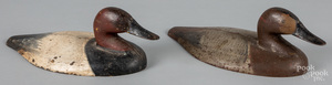 Pair of painted cast iron canvasback duck decoys