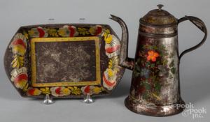 Toleware coffee pot and bread tray