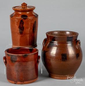 Three redware crocks