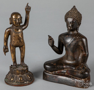 Two antique Chinese bronze Buddhas