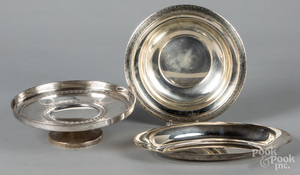 Sterling silver compote, bowl and serving tray
