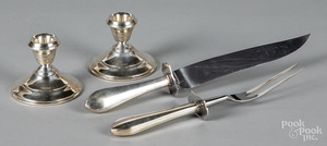 Pair of weighted sterling silver candlesticks, etc.