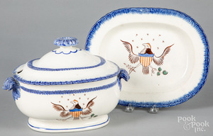 Pearlware blue feather edge tureen and undertray