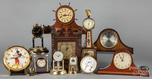 Eleven assorted mantel and wall clocks.
