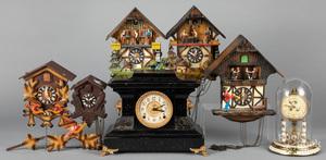 Five German cuckoo clocks, etc.