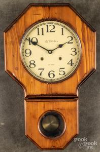 Three wall clocks, together with two shelf clocks