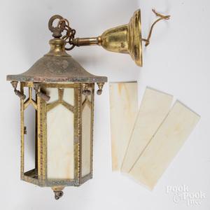Brass and slag glass lantern