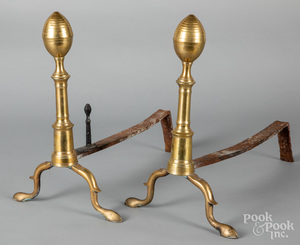 Pair of Federal brass lemon top andirons