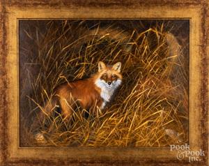 Nancy Milburn Kleck, oil on canvas of a fox