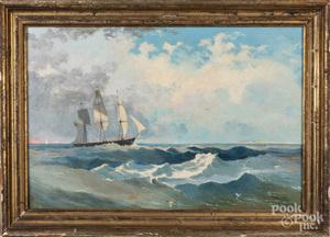 American oil on canvas seascape