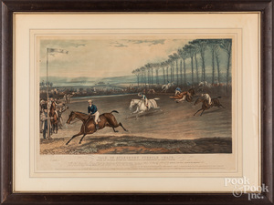 F. C. Turner color lithograph of a steeple chase