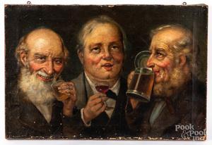 Oil on canvas of three men drinking