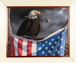 Pastel bald eagle and American flag