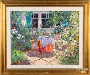 Jose Trinidad, oil on canvas outdoor patio scene