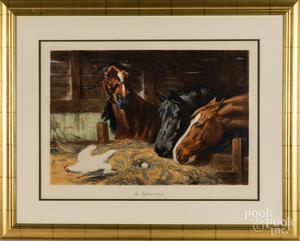 Color horse lithograph