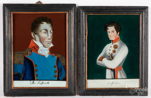 Two reverse painted portraits
