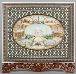 Large Indian watercolor on ivory of the Taj Mahal
