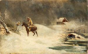 Oil on canvasboard winter landscape