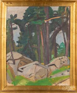 Jean Vanden Eeckhoudt, oil on board landscape