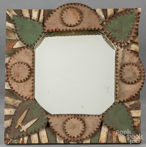 Painted tramp art mirror, together with a frame