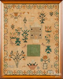 Silk on linen house sampler