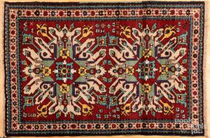 Semi antique eagle Kazak carpet