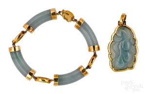 14K yellow gold blue jade set