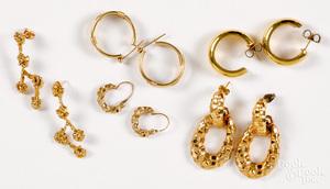 Three pairs of 10K yellow gold earrings, etc.