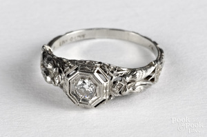 18K white gold Art Nouveau diamond ring