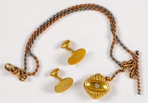 Pair of 14K yellow gold diamond cufflinks, etc.