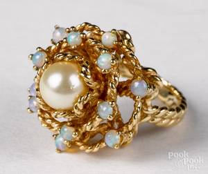 14K yellow gold pearl and opal cluster ring