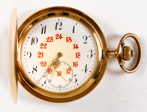14K gold hunter case pocket watch