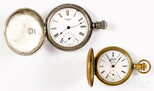 Coin silver Waltham Watch Co. pocket watch, etc.