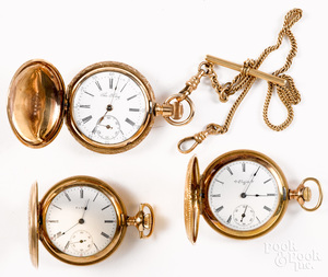 Three gold filled Elgin ladies pocket watches, etc.