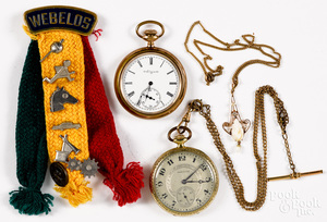 Two gold filled open face pocket watches, etc.