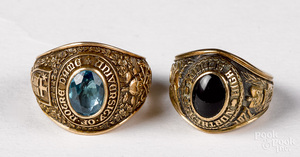 Two 10K gold class rings