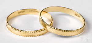 Two 18K yellow gold wedding bands