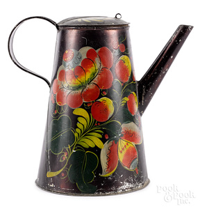 Vibrant black toleware coffee pot