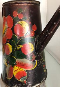 Vibrant black toleware coffee pot