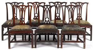 Seven Philadelphia Chippendale mahogany chairs