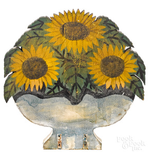Painted urn-form fire screen of sunflowers