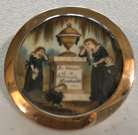 Miniature watercolor on ivory memorial brooch