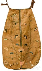 Chester County silk on linen needlework pocket