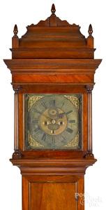 Philadelphia Queen Anne walnut tall case clock